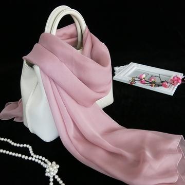 新款女士百搭烟粉色围巾 桑蚕丝简约秋冬天丝巾长款 纯色真丝披肩