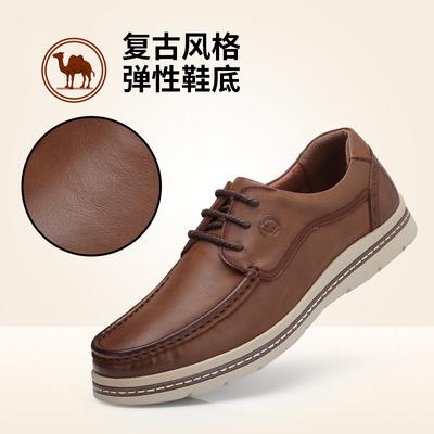 骆驼牌男鞋 2018新品男士磨砂真皮休闲皮鞋 耐磨系带英伦风男皮鞋