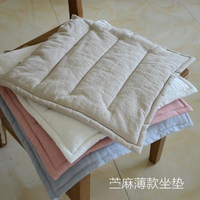 薄款简约纯色透气白色粉色浅蓝苎麻棉麻亚麻办公室坐垫餐椅垫座垫