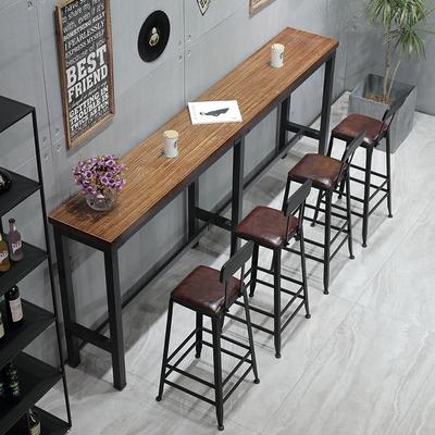 北欧实木吧台桌家用小吧台靠墙窄桌长条桌酒吧奶茶店高脚桌椅组合