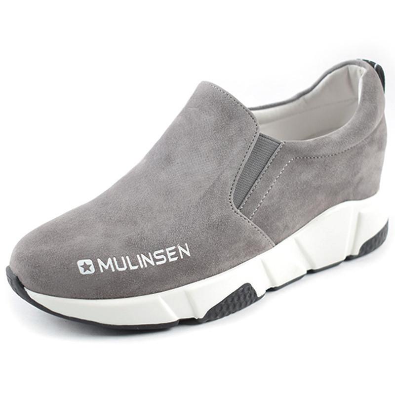 秋季磨砂牛皮单鞋 学生鞋 青年低帮简约松糕底舒适休闲鞋 木林森女鞋