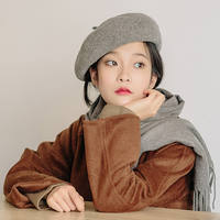 Hat female winter wool beret female England autumn and winter Korean version of Japanese knit painter hat pumpkin hat female