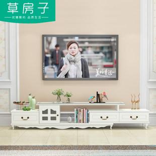 现代简约小户型电视柜茶几组合客厅伸缩欧式钢化玻璃电视机柜地柜