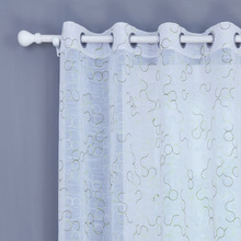 外贸出口窗帘 客厅阳台窗纱 竹节多丽 圆圈绣花窗帘 打孔穿杆