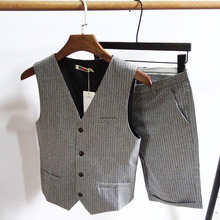 Summer Men's Slim Suit, Striped Horse Clamp Professional Suit, Western Suit and Armor Suit, Korean Short Pants, Chao Men's Two-piece Suit