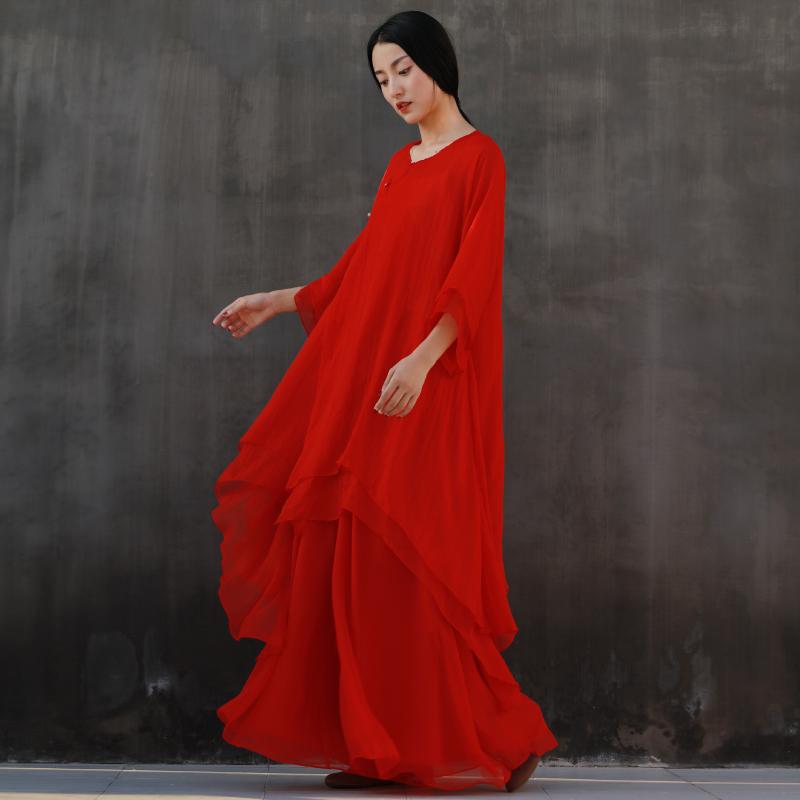 青央中国风白色禅意禅修禅舞服女汉服文艺宽松中长款连衣裙两件套