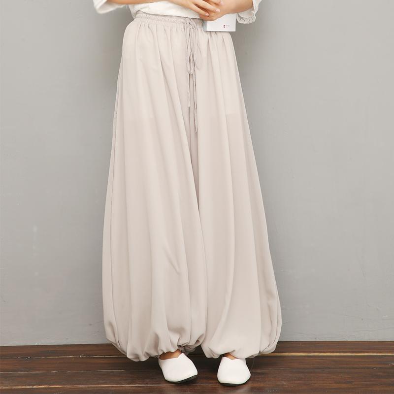 春夏仙气中式复古原创设计瑜伽禅舞拍摄茶服禅服大码灯笼裤豆蔻