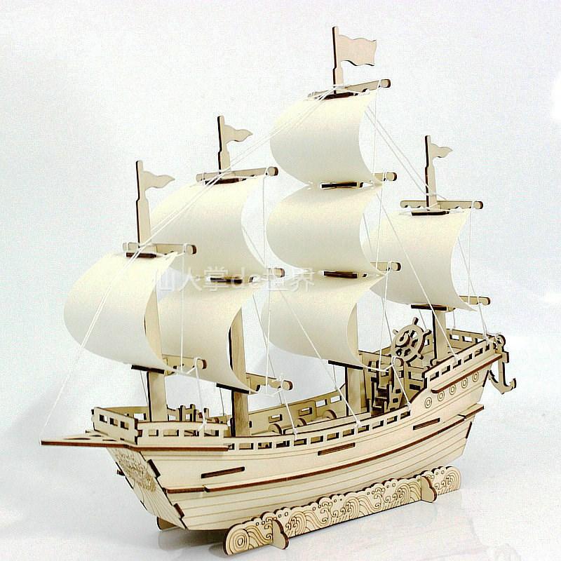 激光切割木制仿真古帆船模型木质手工拼装明朝商船3d立体拼图玩具