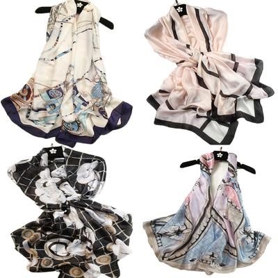 百搭抖音同款丝巾真丝缎女士泰国防晒披肩夏季沙滩巾海边两用围巾