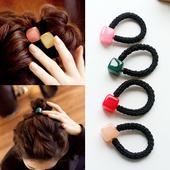 韩国简约小清新方块头绳成人扎头发橡皮筋发绳 韩版百搭头饰发圈
