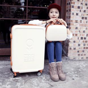 拉杆箱子母行李箱复古女生万向轮旅行箱子202426寸密码箱登机箱包