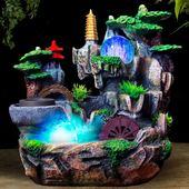 饰工艺礼品客厅办公室小摆件 假山流水喷泉招财风水轮加湿器家居装图片