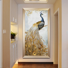 Cross stitch thread embroidery 201819 new living room vertical version of the rich auspicious peacock simple full embroidery print porch silk thread