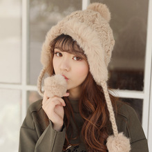 Hat Female Winter Leifeng Hat Korean Edition 100 sets of cute and plush rabbit hair ball ear protector Northeast knitted winter wool cap