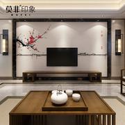 3d现代简约新中式壁纸壁画电视背景墙壁纸影视墙客厅古典徽派墙布