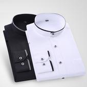 衬衣中华立领纯色商务休闲寸杉宽松圆中山装 衬衫 长袖 中式白色男士