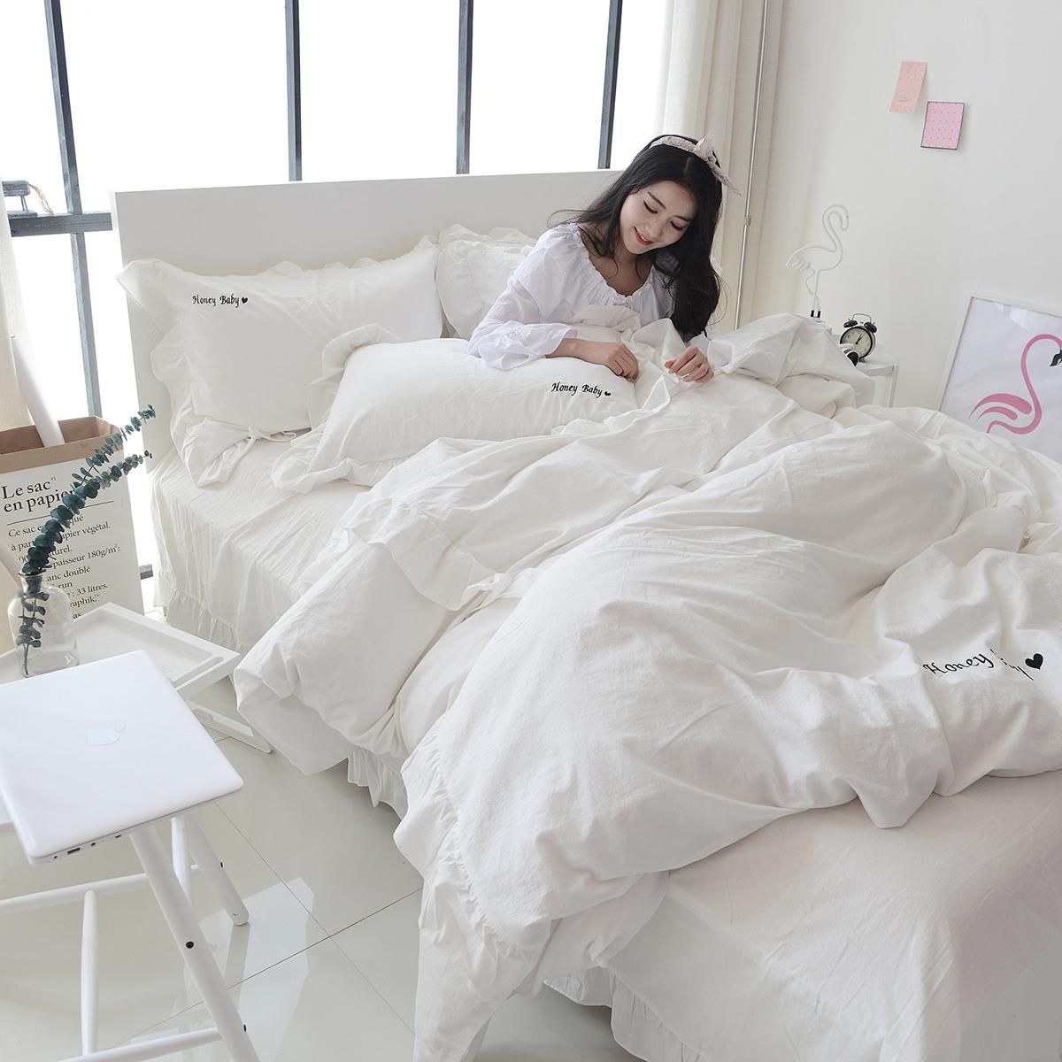 床单白色纯棉简约