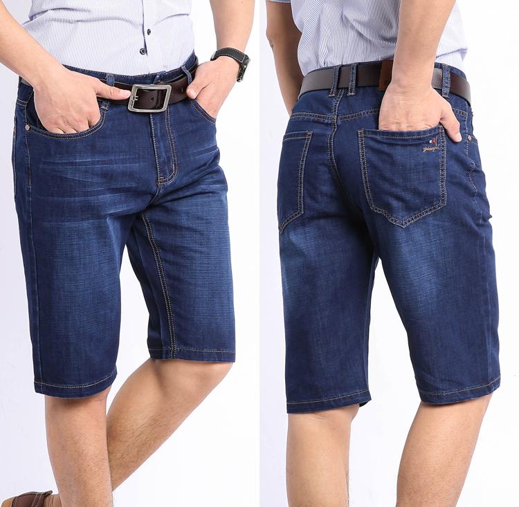 夏季超薄款中年人男士牛仔裤高腰夏天五分短裤子爸爸中老年40岁50