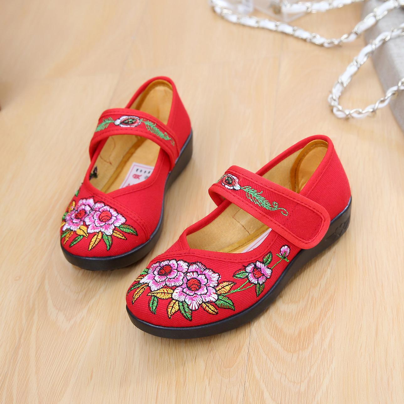 老北京儿童手工布鞋女童鞋民族风绣花鞋舞蹈表演红鞋女休闲鞋学生