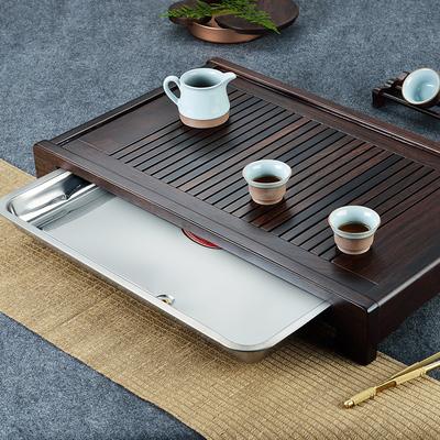 茶盘实木家用黑紫檀木简约托盘茶海特大号长方形红木茶台木质排水
