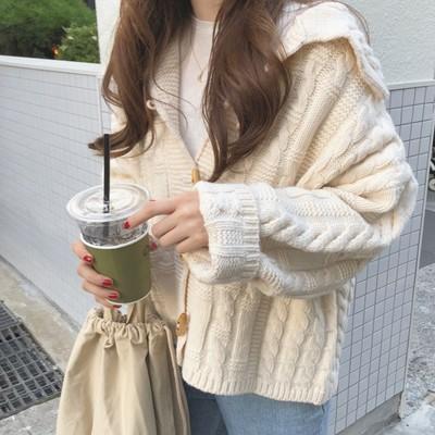 春季新款韩国ins百搭宽松翻领牛角扣麻花纹针织衫开衫毛衣外套女