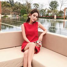 直筒裙子女夏小个子高腰红色连衣裙女礼服裙 无袖 2018夏季新款 韩版图片