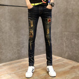 Summer youth personality retro-cave beggar jeans men Korean version of body-building show thin, tightly fashionable men's feet
