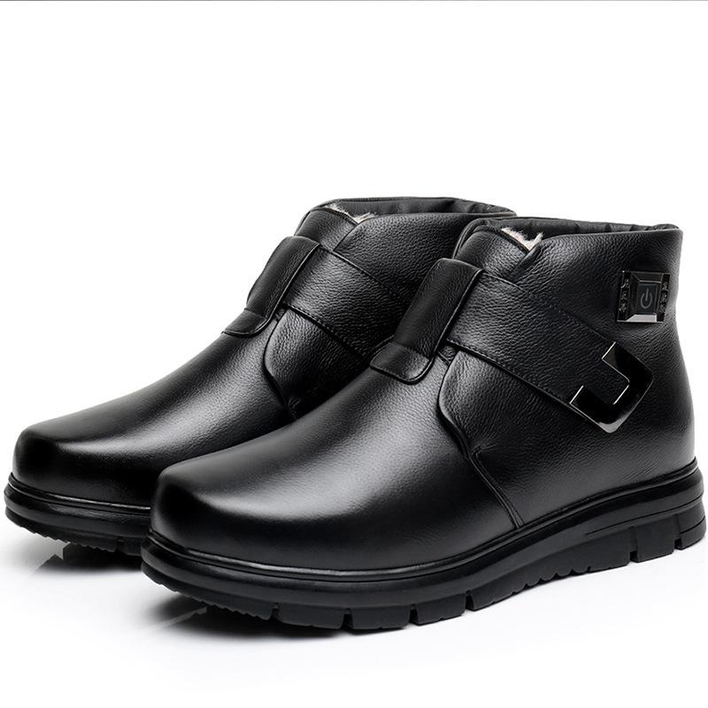 尼瓦蒂电热鞋 发热鞋真皮充电可行走户外电暖鞋冬季保暖加热皮鞋