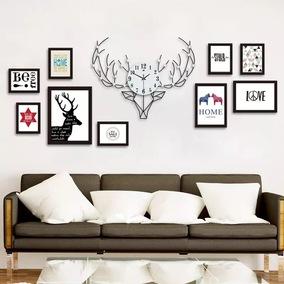 北欧鹿头创意钟表墙挂钟客厅家用艺术背景墙装饰时钟相框挂表静音