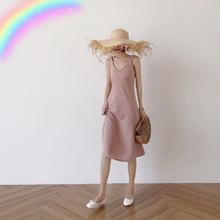 2018新款 女珍珠一排扣温风收腰吊带裙气质纯色显瘦连衣中长裙 夏装