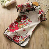 2019 summer new girls short-sleeved stand collar cheongsam printed national wind children's dress