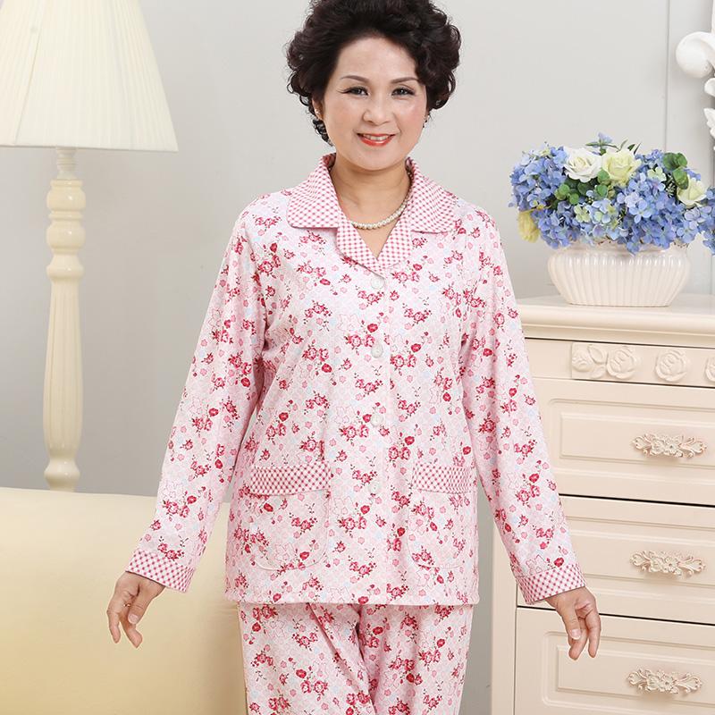 春秋夏季中老年人睡衣女士纯棉长袖大码奶奶老人婆婆妈妈全棉套装