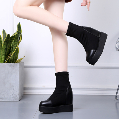 短靴女春秋2018新款真皮厚底内增高弹力布袜靴瘦瘦靴坡跟高跟单靴