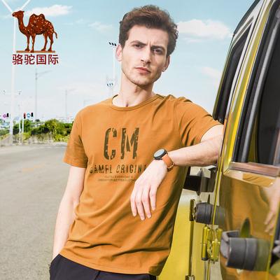 骆驼 男装体恤夏季新款休闲潮流青年修身印花圆领短袖T恤男上衣棉
