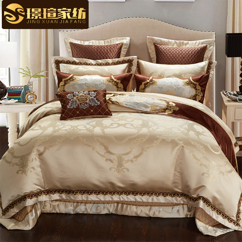 欧式床上用品奢华全棉四件套 高档别墅家纺贡缎提花婚庆八十件套