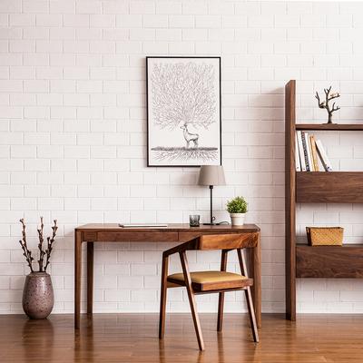 北欧日式黑胡桃木书桌电脑桌白橡木双人原木抽屉写字台书房家具特价