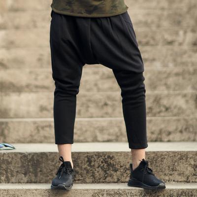 秋装新款纯色 潮男低裆裤垮裤 男装吊裆裤卫裤 男黑色小脚裤K2081