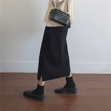 Muzi 18 winter / simple simple single little special! Small split knit skirt A word long skirt female