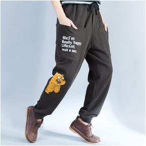 垮裤秋季新款小熊图案低裆裤中性街头嘻哈宽松系腰绳大袋学生长裤