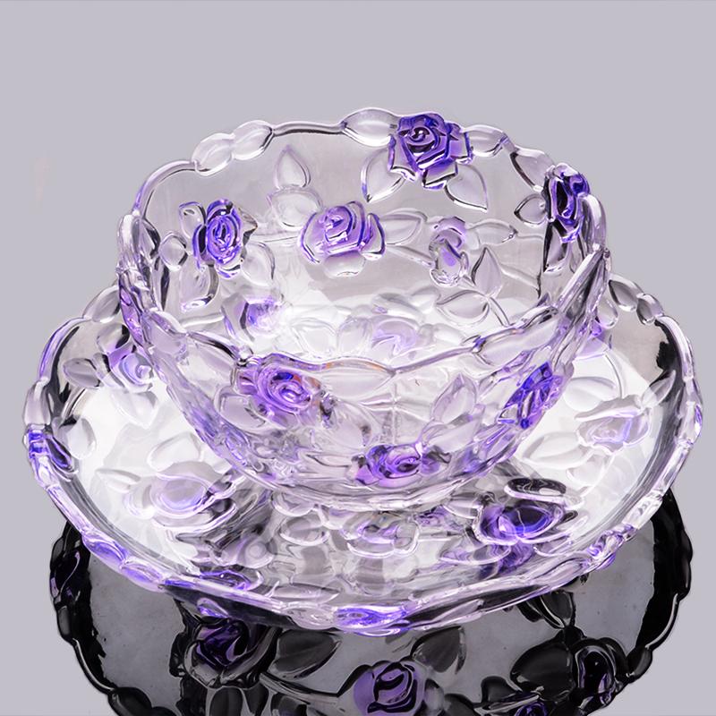创意现代客厅水果盘水晶玻璃家用干果小吃盘糖果盘零食盘欧式大号