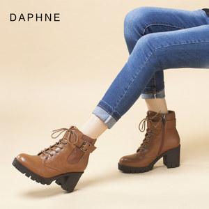 Daphne/达芙妮冬粗跟马丁靴欧洲站时尚短靴系带帅气军靴工装靴女