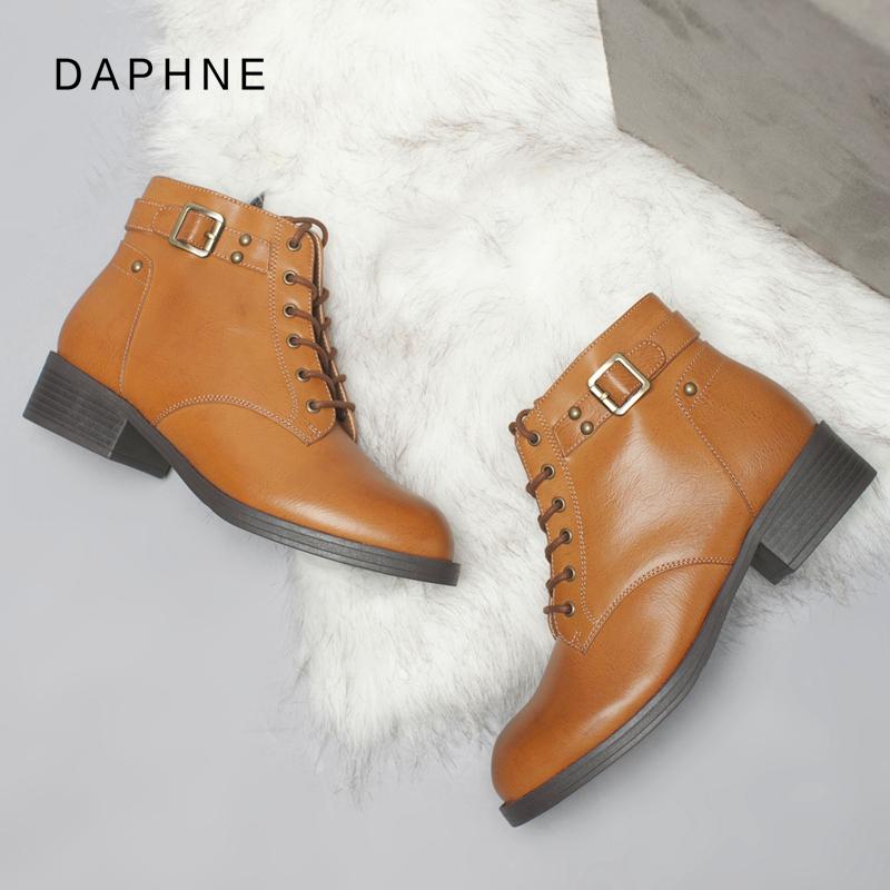 达芙妮马丁靴2017秋冬新款短靴英伦风女靴子军靴单靴粗跟复古女鞋