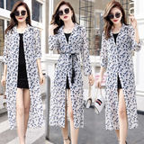 Summer Korean version of the long sundress girl chiffon plaid beach shirt loose large size shawl thin coat
