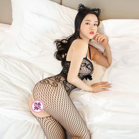 性感情趣内衣女黑色露乳连体网袜大码吊带连身丝袜火辣透明套装骚