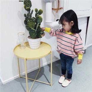 曹小宝童装男童2018年女童春款撞色条纹长袖t恤儿童上衣