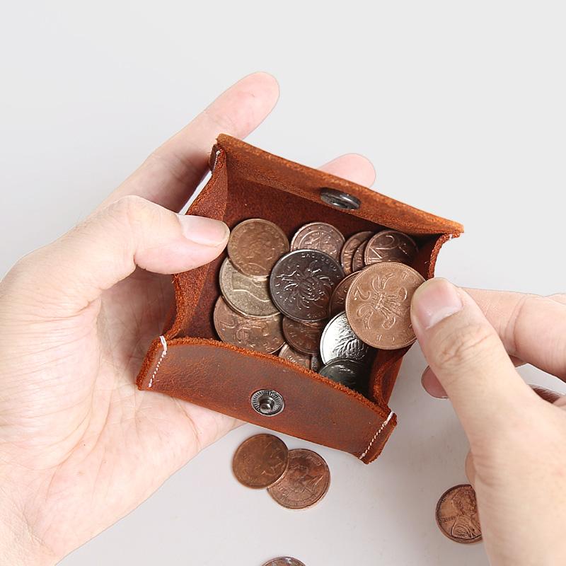 迷你零钱包疯马皮搭扣硬币包钱包
