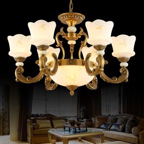 高端全铜吊灯欧式复古客厅餐厅卧室仿云石美式灯具灯饰