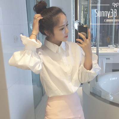 包邮2018秋季韩版新款小清新显瘦学生上衣长袖白衬衣女泡泡袖衬衫