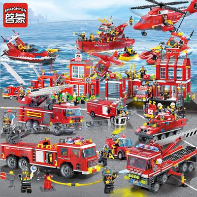 启蒙楽高城市警察消防局车积木男孩子6小学生7拼装8玩具益智10岁