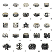 S925 Silver Cross Military Flower Rotary Ring Japanese and Korean Single Chao Man Thai Silver Ring Men and Women Retro Forefinger